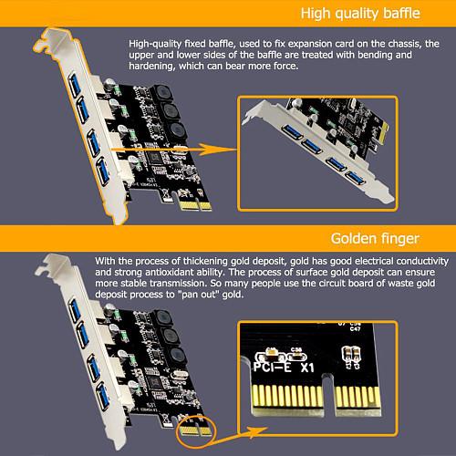 4 Port USB 3.0 PCIe Expansion Card PCI Express PCIe USB Hub Adapter SSU U3V04S 4-port USB3.0 Controller