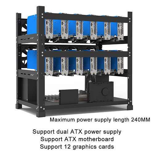 Multi-graphics Chassis Frame 12 Graphics Mining Rig Frame (Support ATX Power) - Black Double-layer