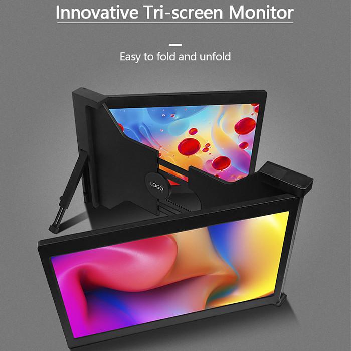 13.3-inch Triple Gaming Monitor Full HD IPS Dual Monitor Screen Extender IPS 1920x1080P HDMI/USB/Type-C Plug & Play Portable for 14-16 Mac/Windows/Chrome/Laptops