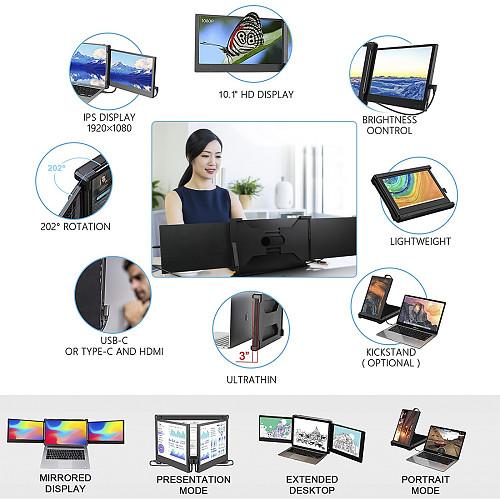 10.1-inch Triple Gaming Monitor Full HD IPS Dual Monitor Screen Extender IPS 1920x1080P HDMI/USB/Type-C Plug & Play Portable for 11.6-14.1 Mac/Windows/Chrome/Laptops