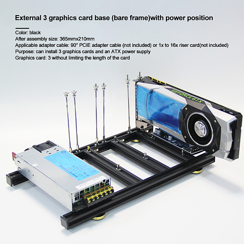 Graphics Card Holder DIY External Graphics Card Base with Power Base for 3 Graogics Cards Alluminum