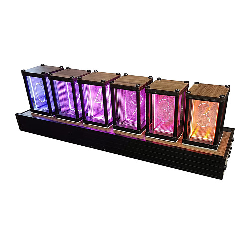 Retro Nixie Tube Clock RGB Simulation Glow Clock DIY Kit Desktop Studio Gaming Room Decor
