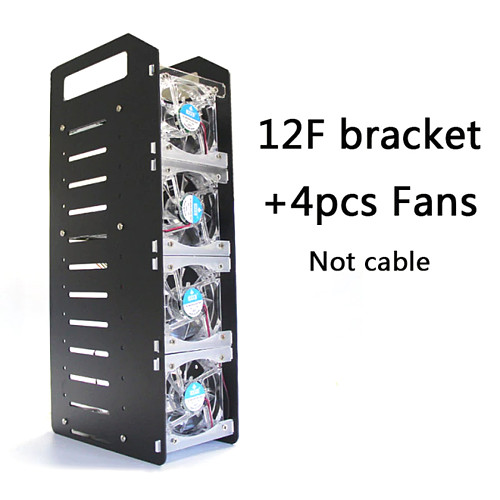 12 Tiers 3.5 Inches Cooling Hard Disk Holder Aluminum Alloy Frame Hard Disk Stand with 4 Fans