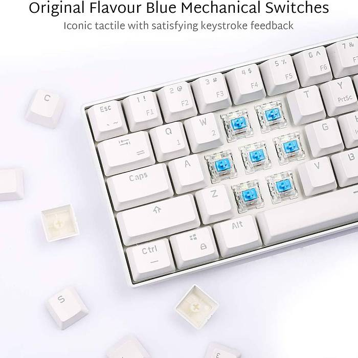 RK61 61 Keys 60% Gaming Mechanical Keyboard Compact USB Wired Bluetooth Dual-mode (Red Switch)