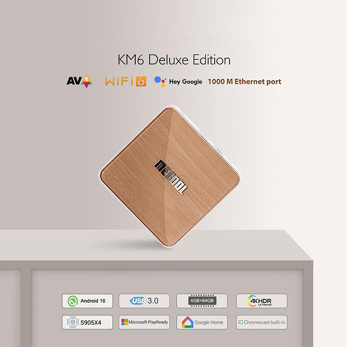 KM6 ATV Deluxe Amlogic S905X4 4GB SDRAM 64GB ROM Bluetooth 5.0 5G WiFi6 Android 10.0 TV Box Support Google Assistant 4K Prime Video AV1 4K@60fps H.265 VP9 1000M LAN Ethernet - EU Plug