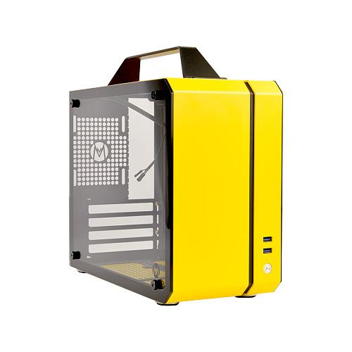 [Yellow] Micro-ATX Mini Case 12.9L Portable Side-Through SFX Power Supply ITX/MATX Case C26