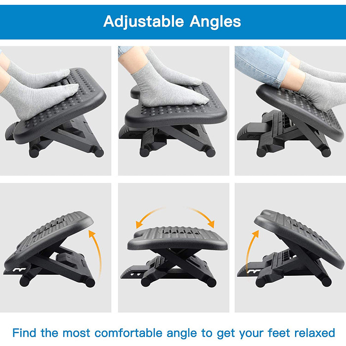 Footrest Under Desk - Adjustable Foot Rest with Massage Texture and Roller, Ergonomic Foot Rest with 3 Height Position, 30 Degree Tilt Angle Adjustment for Home Office