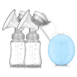 F004 Electric Double Breast Pumps, Breast Pump Safe Milk Storage Bottle Dual Control Milk Suction and Breast Massager Breast Care with USB and Lid for Baby Breastfeeding by Mammafeed,3 colors