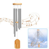 Metal Wind Chimes, For Home Decoration Gifts Car Outdoor Courtyard Garden Decoration, with 6 Aluminum Tubes (White)