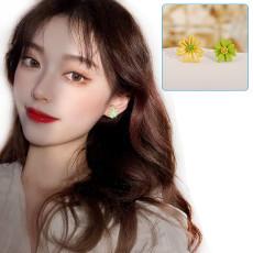 Asymmetric Earrings, Daisy Stud Earrings,  Color Flower Earrings(S925)
