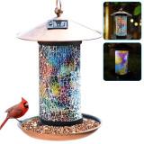 Solar Bird Feeder, Hanging Bird Feeder,Mosaic Glass Bird Feeder for Outdoor, Garden Decoration Crafts