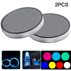 LED Car Luminous Water Coaster, Colorful Car Ambient Light, Usb Rechargeable Non-slip Coaster (2PCS)