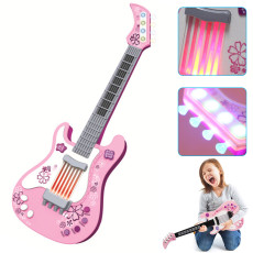 Kids Guitar Toy, Multi-function Mode Instrument with Light, Children's Simulation Instrument (Pink)