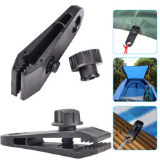 10 PCS Tent Fixing Clip, Canopy Reinforced Windproof Clip, Waterproof Clip for Outdoor Tent (Black)
