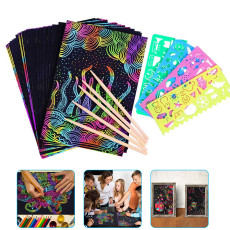 50PCS Magic Colorful Scratch, Colorful Scratch Paper, DIY Handmade Scratch Painting
