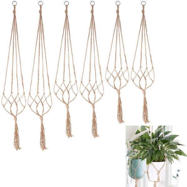 6 PcsPlant Hangers, Hand-woven Hanging Flower Pot Net Bag, Cotton Rope Hemp Rope Plant Hanging Basket