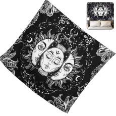 White Black Sun Moon Mandala Tapestry, Bohemian Tapestry,  Dorm Decor Psychedelic Tapestry