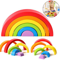 6 PCS Rainbow Blocks, Wooden Arch Bridge Semicircle Children's Toy,  Puzzle Early Education Jenga Toys