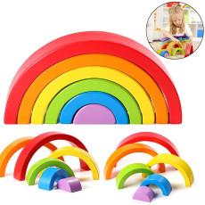 6 PCS Rainbow Blocks, Wooden Arch Bridge Semicircle Children's Toy,  Puzzle Early Education Jenga Toys