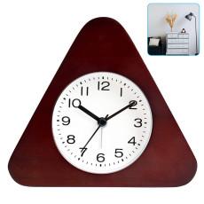 Triangle Wooden Alarm Clock, Luminous Log Border, Simple Home Decoration, Arabic Numerals( Brown)