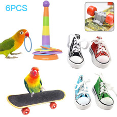 6 PCS Bird Training Toys, Parrot Combination Toy, Educational Toy Ring, Skateboard, Mini Shoes, Chewing Toy