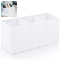 Acrylic Three-Grid Storage Box ,Cosmetic Lipstick Brush Display Stand Case, Makeup Brush Holder Storage Organizer (White)