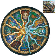 500 Pieces Circular Puzzle, Mythic Celestial The Sun and Moon Constellation for Adults Kids