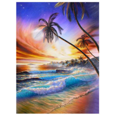 5D Diamond Painting, Sunset Sea Tree Decorative Painting, Paint with Diamonds Embroidery Painting Cross Stitch