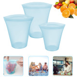 3 Pack Reusable Silicone Food Bag, BPA  Leakproof Zip Lock Containers for Fruit/Snack/Vegetables, Microwave Dishwasher and Freezer Usable(3 x cups Blue)