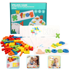 Flyingseeds See and Spell Learning Toy,Sight Words Flash Cards,Matching Letter Puzzles Games for Kids Toddlers 2 3 4 5 6 Year Old(28 Double-Side Cards & 52 Wooden Alphabet Blocks)