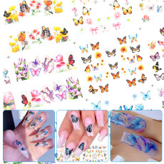 12Pcs 3D Butterfly Nail Art Stickers, Adhesive Sliders Colorful Blue Flowers Nail Transfer Decals Foils Wraps Decorations