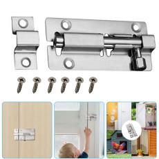 2 PCS Door Security Slide Latch Lock, Thickened Stainless SteelSliding Door Lock, Heavy Duty Solid Thicken with 12 Screws Steel,