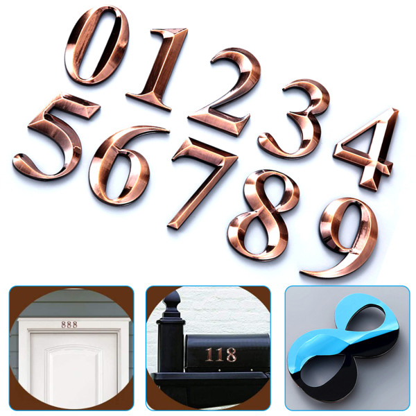 2 Pcs  Number Plate, 2-3/4  Self Stick Door Number Stickers for Apartment/Office, Metal Shiny, Bronze Plated. (2 Pcs NO.0, Bronze)