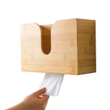 Bamboo Paper Towel Dispenser, Wall Mount and Countertop Multifold Paper Towel Holder,Bamboo Hanging Tissue Box for Bathroom and Kitchen