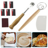 Flour Spatula and Baking Tool Set, Flour Coil Mixer  with Leather Protective Cover 5 Replaceable Razor Blades