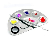 Stainless Steel 6 Holes Makeup Palette Nail Art Polish Mixing Plate Cosmetic Artist Mixing Palette with Spatula Tool for Mixing Foundation, Manicure, Painting