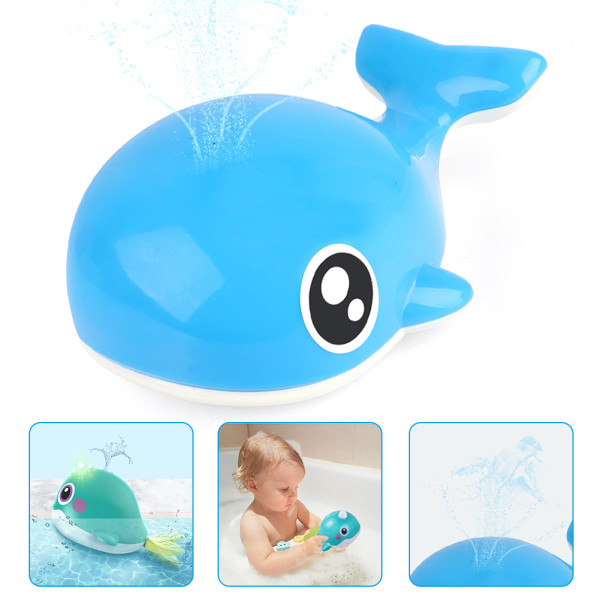 Baby Bath Toys,  Automatic Water Spraying Whale Bath Toy ,Sensor Electric Light Bathroom Shower Toys, Children Bathing Games (Blue)