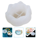 Lotus Candle Holder Silicone Mold, DIY 3D  Silicone Mold Epoxy Resin Storage Box Mould Ornament Craft Making Tool Household Supplies