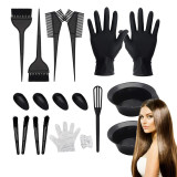22 PCS Hair Coloring Dyeing Kit,Include Hair Tinting Bowl/Dye Brush/Mixing Spoon/Ear Cover/Gloves Hair Dye Tools for Hair Coloring Bleaching DIY Salon & Home Hair Coloring Hair Dryers(Black)