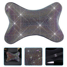 Diamond Car Headrest Pillow, Rhinestone Neck Pillow Seat Back Support Plush Cushion Lady Girl gift Car Accessorie