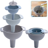 3 Set Kitchen Funnel, Nested Funnels with Handle, Food Grade Plastic, Removable Strainer Filter for Liquid Fluid Dry Ingredients and Powder Transfer