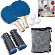 7-Piece Portable Table Tennis Racket, Telescopic Net Frame, 2 Paddles and 3 Balls, Includes Convenient Portable Drawstring Bag