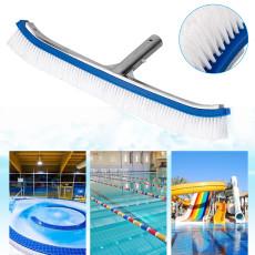 Swimming Pool Brushes,18  Polished Aluminum Back Cleaning Brush Head Designed for Cleans Walls, Tiles & Floors, Nylon Bristles Pool Brush Head