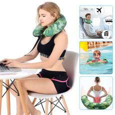 Inflatable Travel Pillow Swimming Ring, Easy to Carry U Type Support and Protect Cervical Spine, for Car and Home