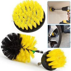 3 Pcs Drill Brush Car Detailing Kit with Extend Attachment, Soft Bristle Power Scrubber Brush Set for Cleaning Car, Boat, Seat, Carpet, Upholstery and Shower Door