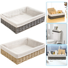 Bathroom Storage Organizer Basket, Bin Toilet Paper Basket Storage Basket for Toilet Tank Top Decorative Basket for Closet, Bedroom, Bathroom, Entryway, Office