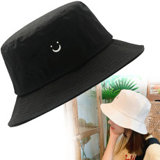 Smiley Face Sunscreen Bucket Hat, Foldable Fisherman Hat, Beach Sun Hat Embroidery Visor Outdoor Cap