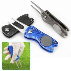 Golf Folding Green Fork, Metal Aluminum Handle Mark Tool Accessories Stainless Steel Spring Repair Fork Golf Training Tool