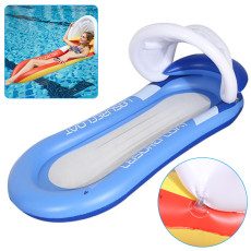 Inflatable Floating Row with Canopy, Adult Inflatable Pool Float Raft with Shade Water Lounge,  Beach Foldable Swimming Pool Chair Hammock Water Sports
