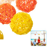 10 PCS Multicolor Rattan Ball, Craft Wedding Birthday Party Home Decorations DIY Ornaments Festival Decor Kids Toys